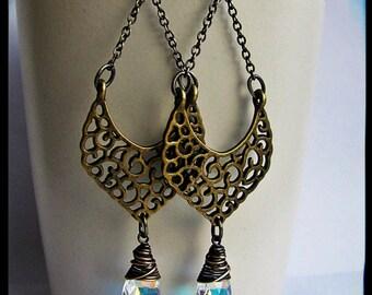 Alhambra Earrings- Antique Brass and Swarovski Aurora Borealis Crystals