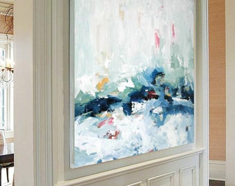 ORIGINAL ABSTRACT Painting Large Art, Acrylic Painting on Canvas. Extra Large Painting - Wall Art, Modern Texture Yellow, Blue, White, Grey