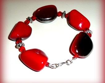 Red Ombre Stone Bracelet