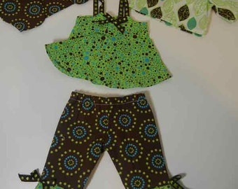 """Brown & Green Pant Set for 18"""" Dolls"""