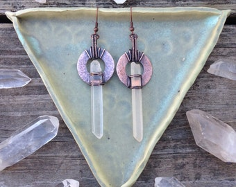 Copper Wire Wrapped Lemurian Quartz Point Earrings