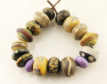 Lampwork Beads Set Organic, Etched Matte Glass, Rustic, Raku, Purple, Green, Gold, Brown