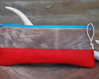 Felted wool & waxed canvas zippered cosmetic bag