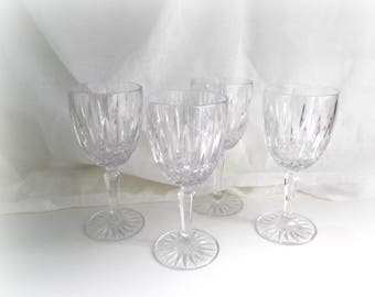 Crystal Wine Glasses, Vintage Mikasa Dublin Pattern, Set of Four,  Wedding Glasses, Vintage Glassware, Bar Cart Decor
