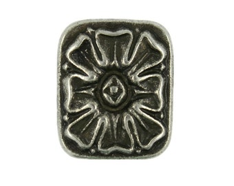 Metal Buttons - Rectangle Ice Flower Antique Silver Metal Shank Buttons - 18mm - 11/16 inch - 6 pcs