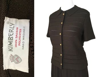 Kimberly Suit Accordion Pleat Skirt Button Front Pointelle Cardigan Jacket Brown Dacron Fine Gauge Knit Size L M