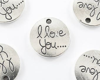 Silver I Love You Charm, Two Sided Circle Pendant - 4 pieces (1088-166S)