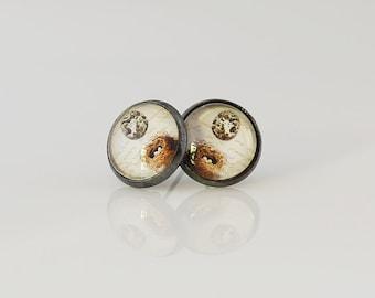 Vintage Style Bird Nest Earrings, Fine Art Print, Eggs In A Nest, Nest Earrings