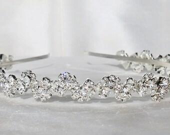 BRIDAL Silver Crystal Rhinestone Headband,Silver Rhinestone Head Wrap,Under 50,Weddings,Bridal Headpiece,Crystal Wreath Tiara,Cluster,Clear