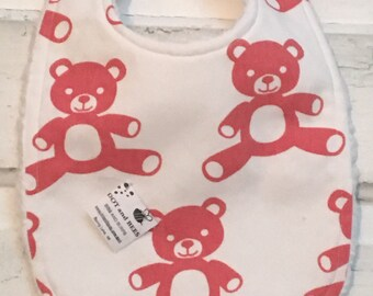 Adorable Coral Teddy Bear Baby Bib on White!  FREE SHIPPING!!!!