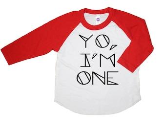 YO, I'M ONE Kids Tee + Tank, One Birthday Shirt, Toddler t-shirt, tank top, Trendy kids clothes, Birthday Shirt, child t-shirt