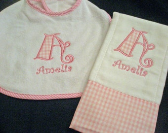 Gingham Baby Bib and Gingham Burb Cloth set  Monogrammed Personalized