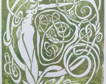 Harvest Dryad, Green and Gold Metallic Ink, Unframed, Handmade Block Print, Fabulous Wallflowers, Green Fairy, Garden Faerie, Laura Cesari