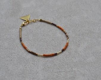 Bracelet fin en perles de Miyuki ( perles japonaises ) ton rouille, doré, marron metallisé