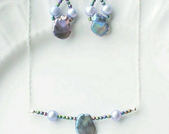 Sterling Silver Pearl and Hematite jewelry, June birthstone jewelry, Gift for her, Blue Pearl earrings, Pearl necklace, Magnetic jewelry
