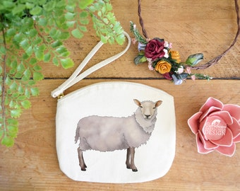 Sheep Canvas Zip Bag, Makeup Bag, Coin Purse, Small Accessory Pouch, Stocking Filler, Sheep Gift