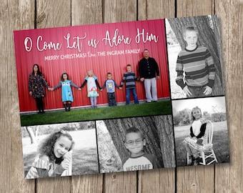 O Come Let Us Adore Him Christmas Card