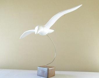 Wood 'Jonathan Livingston Seagull' Sculpture - White-painted Wood Seagull Floating on Wire - Wood Block Base - MCM - Graceful Bird in Flight