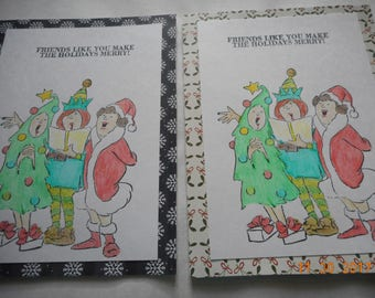 CHRISTMAS FRIENDSHIP Card, set of 2, Friends like you make the holidays merry!,3 singing ladies, handmade card