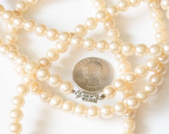 Long, Single Strand of Pearls, Vintage Costume Jewelry