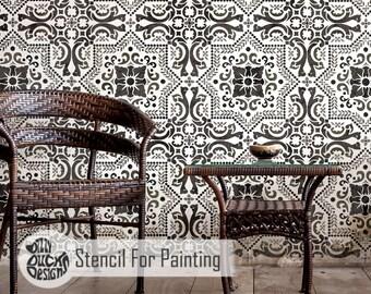 EVORA Tile Stencil - Mediterranean Spanish Portugese Wall Furniture Floor Craft Stencil for Painting - EVOR01