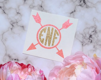 Arrow Monogram Glossy and Glitter Vinyl Decal, Glossy and Glitter Monogram Sticker, Arrow Circle