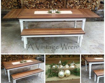 Farm table/ Extension table/ farmhouse table/ made in New Hampshire custom furniture