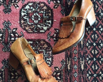 Woodstock 1970s Tan Heeled Leather Oxford Mary Janes 8