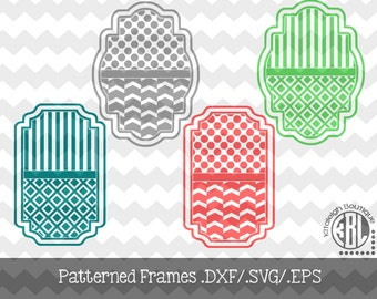 Patterned Frame design INSTANT DOWNLOAD in dxf/svg/eps for use with programs such as Silhouette Studio and Cricut Design Space