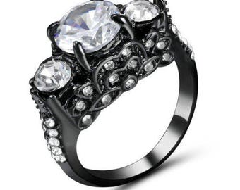 Black Rhodium Plated Round Cut Ring Size 6
