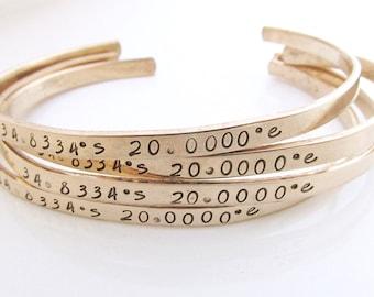 SIX Skinny Cuff Bracelets - Stamped Jewelry - Inspirational Jewelry - Gold Filled Cuffs - Coordinate Jewelry - Bridesmaid Bracelet