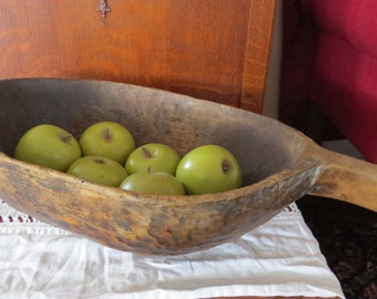 Antique Rustic Primitive European Oval Round Wood Handled Dough Bowl Bread Trencher Trough Handmade Hand Carved Carving