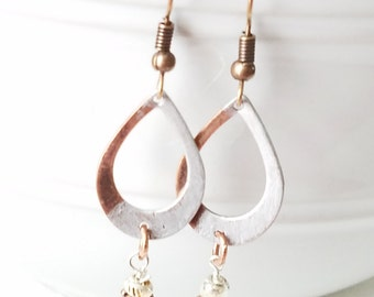 Antiqued Copper Tear Drop Earrings  Hand painted Silver Earrings Silver Patina Earrings accented with silver seed bead