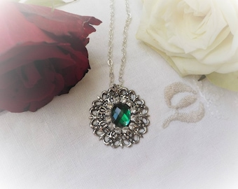 Victorian print and emerald green cabochon necklace