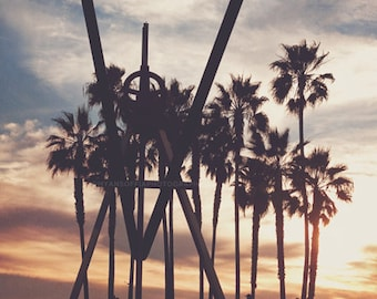 Photography, Venice Beach photograph, sunset, LA palm trees California sunshine, orange yellow blue, beach decor, surfer, Los Angeles, Myan