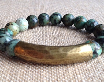 10mm African Turquoise bracelet with an Antique Brass tube bead