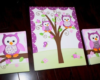 Set of 3 Purple Owl Girls Baby Bedroom Nursery Art on Stretched Canvas 3CS034
