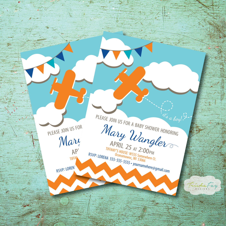 Airplane Themed Baby Shower Invitation Boy Baby Shower