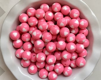 20mm Light Pink Hearts Chunky Bubble Gum Beads Set of 10*