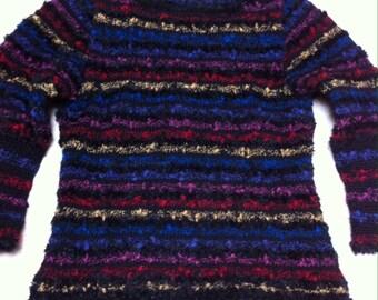 woman in fancy striped wool sweater