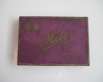 A box of Milo Violets Gold Tipped cigarettes (5/empty) - By The American Tobacco Co c.1918
