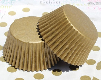 100 Mini Gold or Silver Shimmer Cupcake Liners, Mini Gold, Silver Non-Foil Cupcake Liners, Mini Gold Baking Cups, - Grease proof