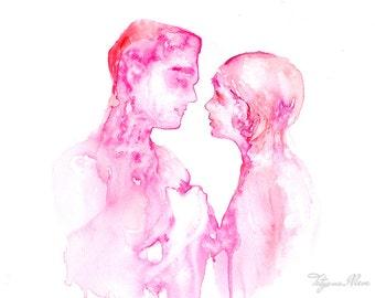 Couple portrait watercolor art print. Wall art, wall decor, digital print.  Just Love