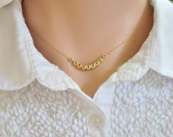 Small Gold Pendant , Dainty 14k gold Necklace , Delicate 14k Solid Gold Pendant ,  Tiny Gold and Gemstone Necklace , 14k Gold Necklace