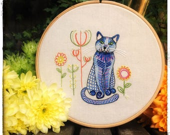 Embroidery kit, blue cat, embroidery pattern, embroidery designs, hand embroidery, sewing kit, cat, sewing gift, kitty, embroidery hoop art