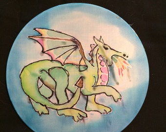 Whimsical Silk Painted Dragon