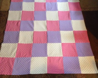 READY TO SHIP Pastel Minky Quilt
