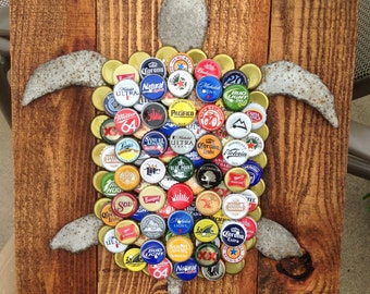 Turtle Wall Art made with Pallet Wood (Stained) and Mixed Bottle Caps