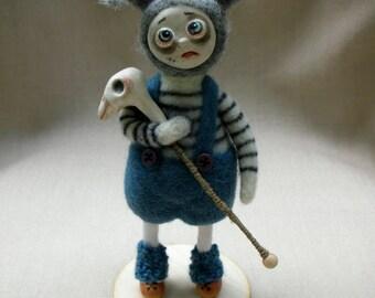 Addams Family. Art doll. Needle felted doll. Pigsley Addams. OOAK. Felt doll. Felted doll. Goth doll. Gothic. Horror doll. Halloween decor