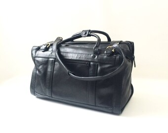 Vintage Black Leather Duffle Bag